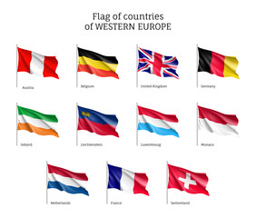 Set of flags of Western Europe countries. 11 ensigns on flagpole of Western Europe member states. Vector 3d icons isolated on white background.
