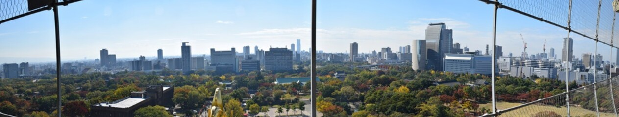 Cityscape of Osaka city viewed from Osaka Castle, Osaka, Japan - Photo taken on November 