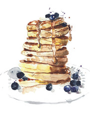 Pancakes stack breakfast food watercolor painting illustration isolated on white background