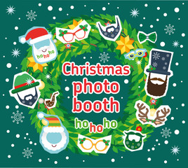Christmas Santa and deer photo booth vector props and decoration. Flat illustration