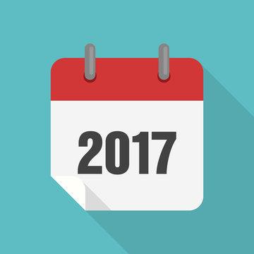 Calendar 2017 icon flat design