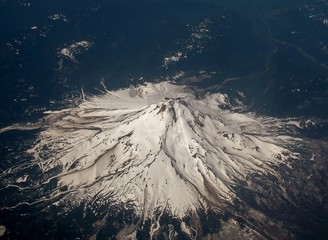Aerial image of snow covered Mount Hood in Oregon, USA.