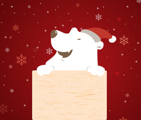 Polar bear holding wood board.