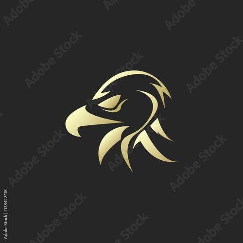 quotgolden eagle or hawk head silhouette logoquot stock image