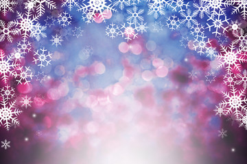 Abstract winter background with bokeh defocused lights. Christmas bokeh background.