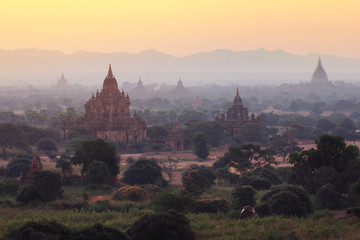 Beautiful scenery during sunrise,sunset at the pagoda of Bagan in Myanmar. is a beautiful landscape and very popular for tourists and photographer