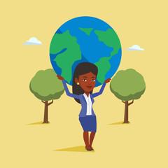 Business woman holding globe vector illustration.