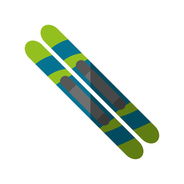 Skiis icon. Winter sport hobby and recreation theme. Isolated design. Vector illustration