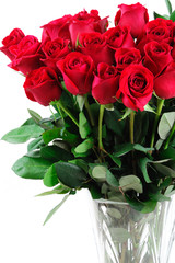 Wall Mural - red roses in vase isolated on white background