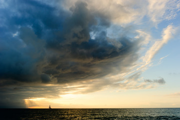 Ocean Sunset Sailboat Storm