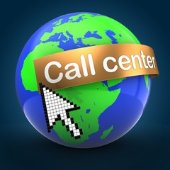 3d illustration of world globe over blue background  with call center text on golden banner