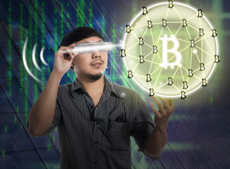 Man wearing smart high tech glasses and looking for Block chain