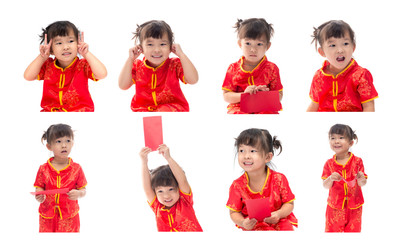 Set of cute Asian baby girl in traditional Chinese suit Isolated