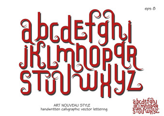 Vector alphabet set. Lowercase letters with decorative flourishes in the Art Nouveau style. Red letters on a white background.