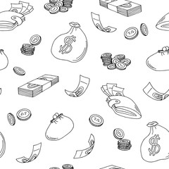 Money graphic black white sketch seamless pattern illustration vector