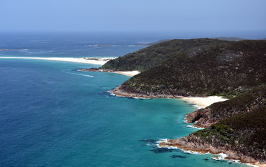 Coastline of Shoal bay on a sunny day from Mount Tomaree Lookout (Central Coast, NSW, Australia)