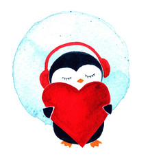 Penguin with heart and headphones. Watercolor illustration isolated on white background