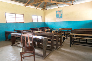 simple class room in village school in Zanzibar