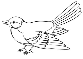 Realistic Cartoon Bird Titmouse Black Contour Isolated On White Background Vector