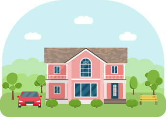 Private living house with car. Family house surrounded by trees with blue sky background. Vector flat illustration