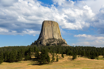 Devils Tower, Wyoming on a summer day.