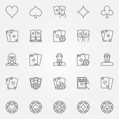 Poker line icons set