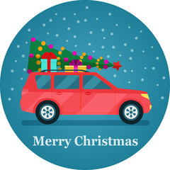 Retro car with christmas tree and gift boxes. Vector flat illustration