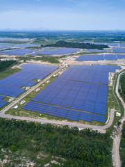 Solar farm, solar panels from aerial, Thailand