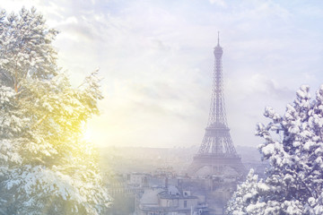 Christmas background : Aerial view of Paris cityscape with Eiffel tower at winter sunset in Paris. Vintage colored picture. Business, Love and travel concept Wall mural