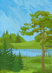 Landscape, Pine, Fir Trees and Grass on the Shore of a Lake on Hand-Draw Oil Paint Painting Background
