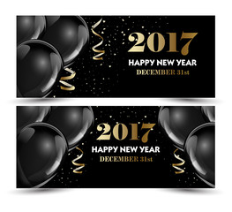 Set of luxury Christmas, New Year banners with black hot air baloons.