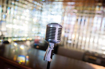 Microphone on an abstract background