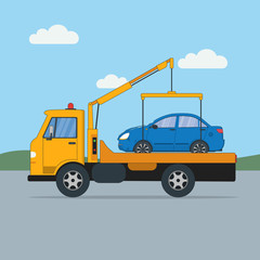 Tow truck with car. Rad help. Towing service. Transportation and repair help.