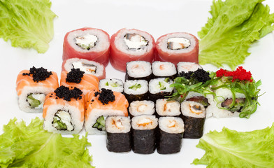 Set of rolls on white background. Japanese food