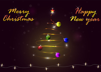 Light christmas tree with christmas balls, snowflakes and luminous garland on dark background with letters, vector
