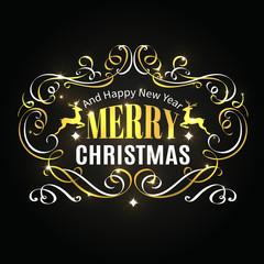Merry Christmas typographic label.