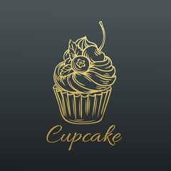 Hand drawn Vector Cupcake