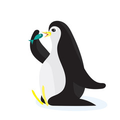 Cartoon penguin eating the fish. Flat illustration, isolated on white background