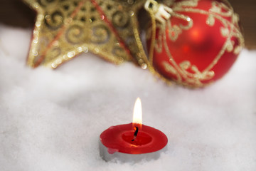 Christmas candle and Christmas ornament card