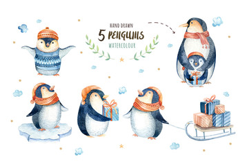 Merry christmas snowflakes and penguins. Hand drawn illustration