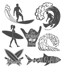 Set of surfing vintage design elements. Surf logo vector illustration. Surfboard logotypes. Retro