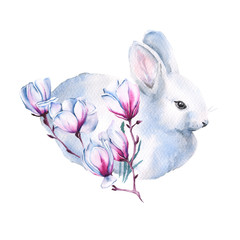 Easter Bunny with a branch of Jasmine. Isolated on a white background. watercolor illustration.