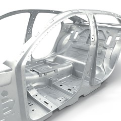 Sedan without cover on white. 3D illustration