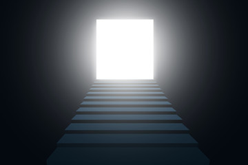 The Subway Stairs. A light in the end of a tunnel. Vector illustration