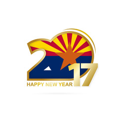Year 2017 with Arizona state Flag pattern. Happy New Year Design.
