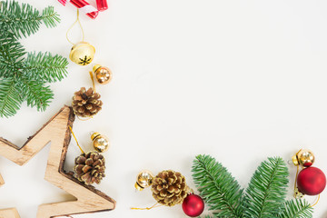 Christmas flat lay styled scene with evergreen tree twigs and copy space