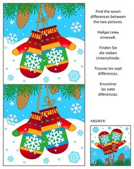 Winter, New Year or Christmas visual puzzle: Find the seven differences between the two pictures with colorful mittens (may be, Santa's). Answer included.