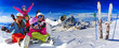 Skiing, winter, snow, sun and fun - family enjoying winter vacation.