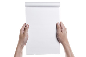 A man(male) write a empty(blank, vacant) paper isolated white.