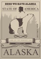 Alaska vector travel poster. USA. Unuted States of America illustration